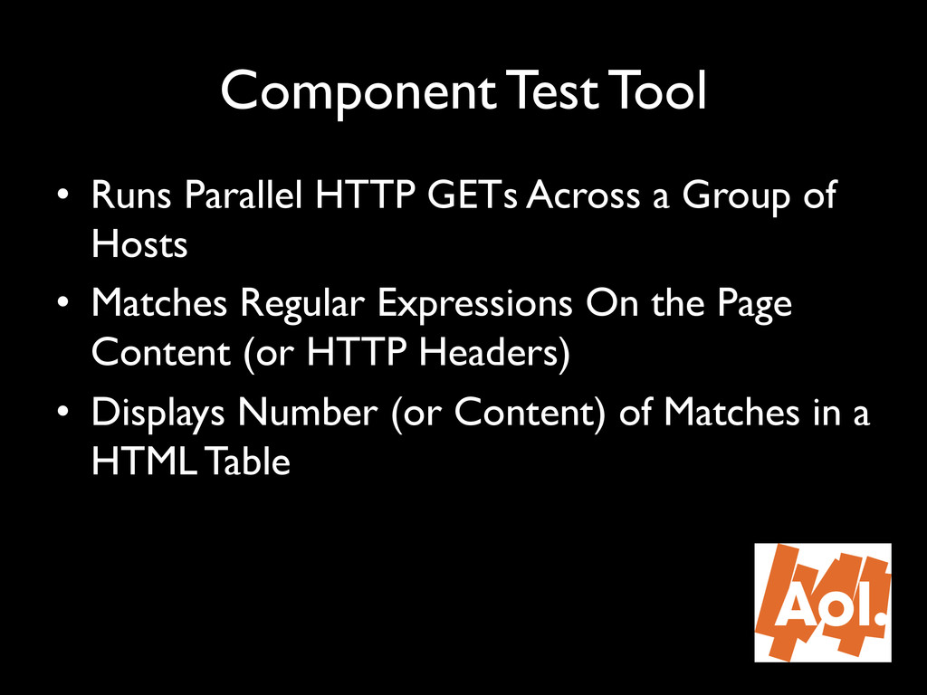 """Component Test Tool"""" • Runs Parallel HTTP GETs..."""
