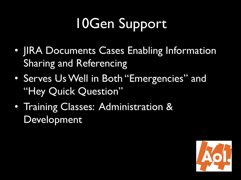 "10Gen Support"" • JIRA Documents Cases Enabling..."
