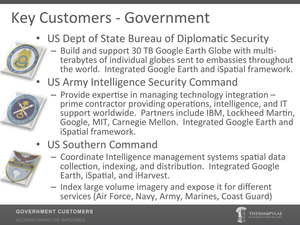 Key$Customers$2$Government $$ • US$Dept$of$Sta...