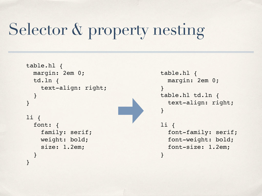 Selector & property nesting table.hl { margin: ...