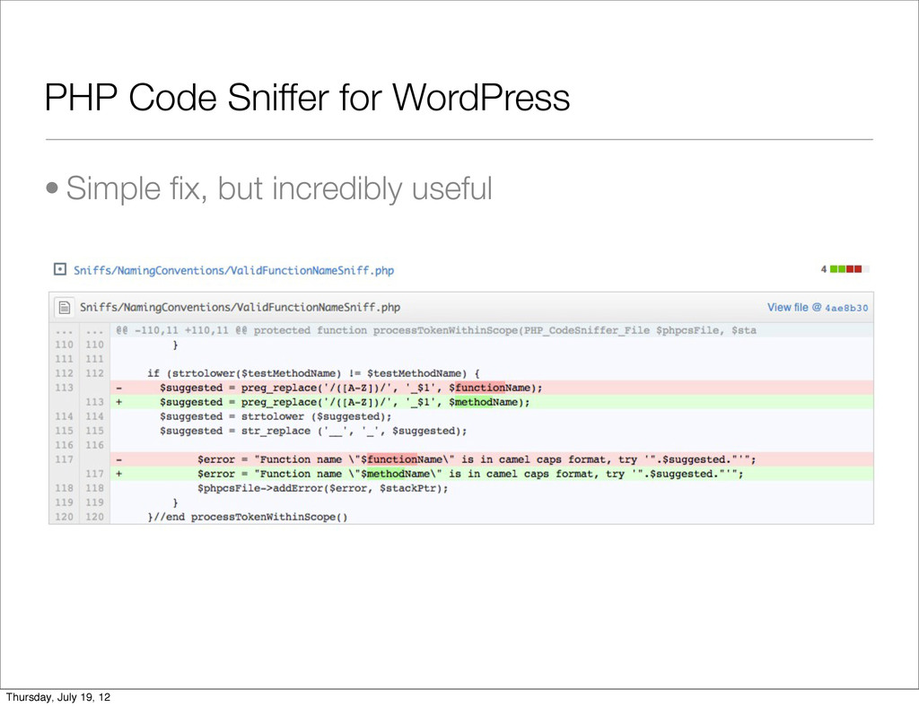 PHP Code Sniffer for WordPress • Simple fix, but...