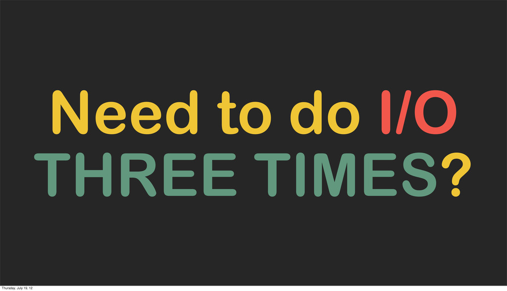 Need to do I/O THREE TIMES? Thursday, July 19, ...