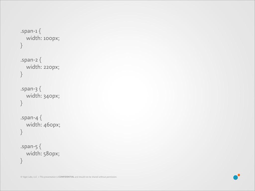 .span-1 { width: 100px; } .span-2 { width: 220p...