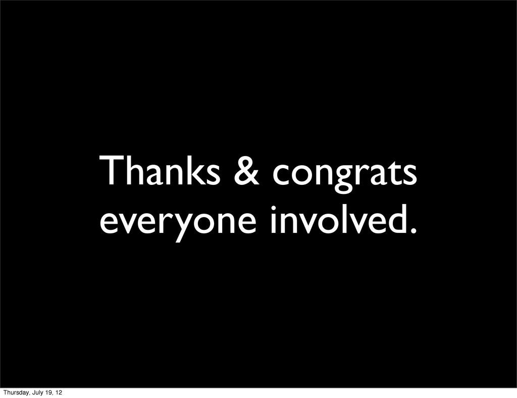 Thanks & congrats everyone involved. Thursday, ...