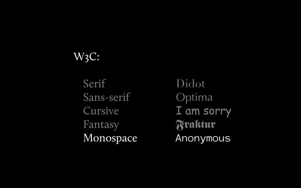 Didot Optima I am sorry Fraktur Anonymous W3C: ...
