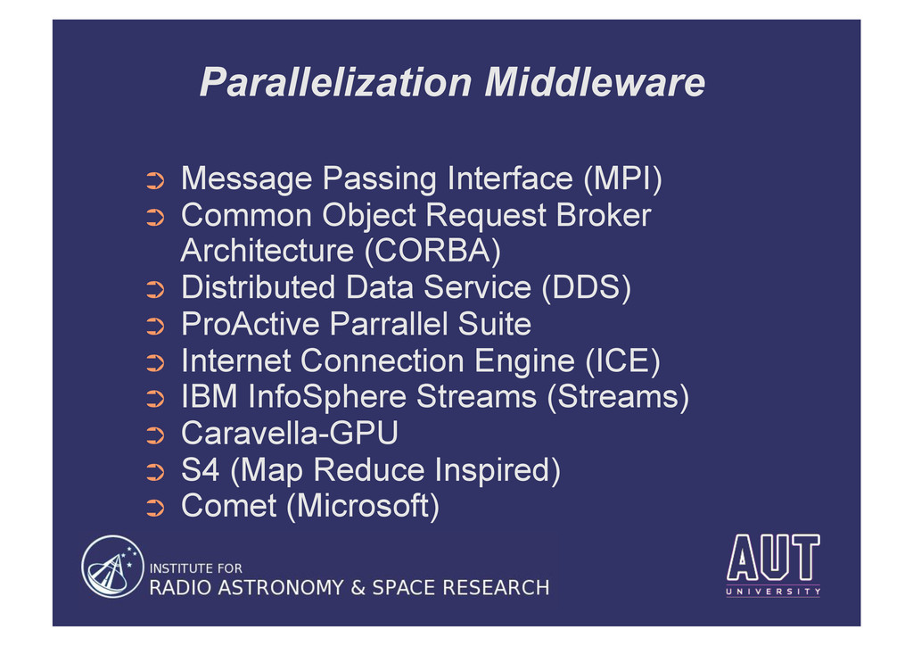 Parallelization Middleware ➲ Message Passing I...