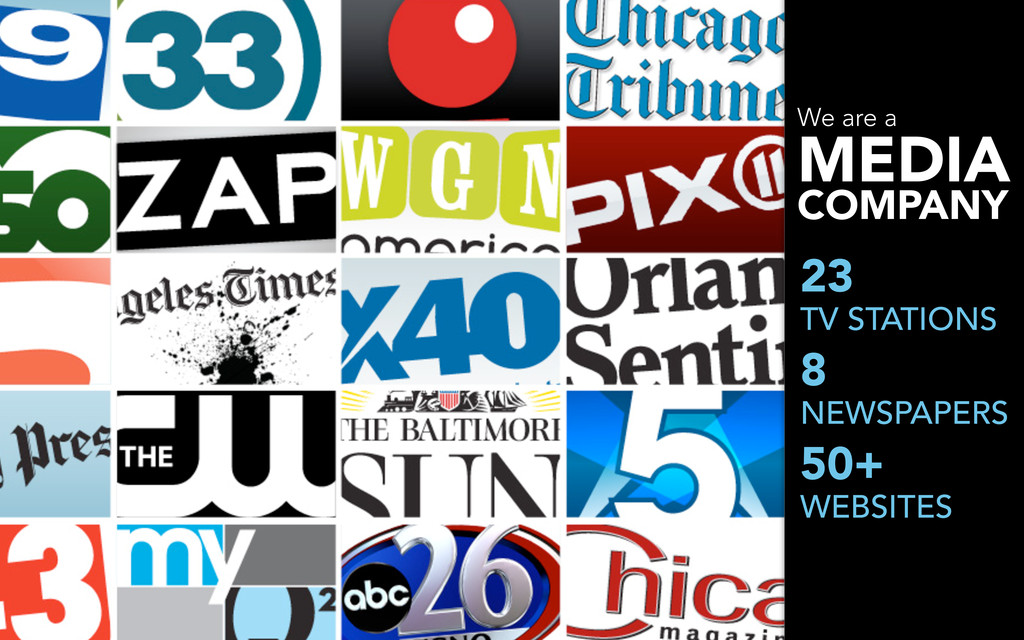 We are a MEDIA COMPANY 23 TV STATIONS 8 NEWSPAP...