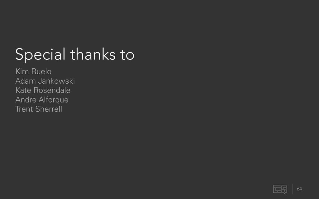 Special thanks to 64 Kim Ruelo Adam Jankowski K...