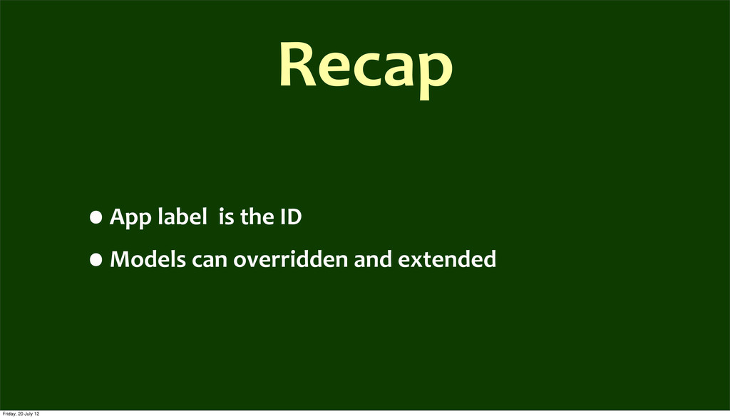 Recap •App	