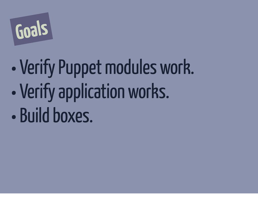 Goals • Verify Puppet modules work. • Verify ap...