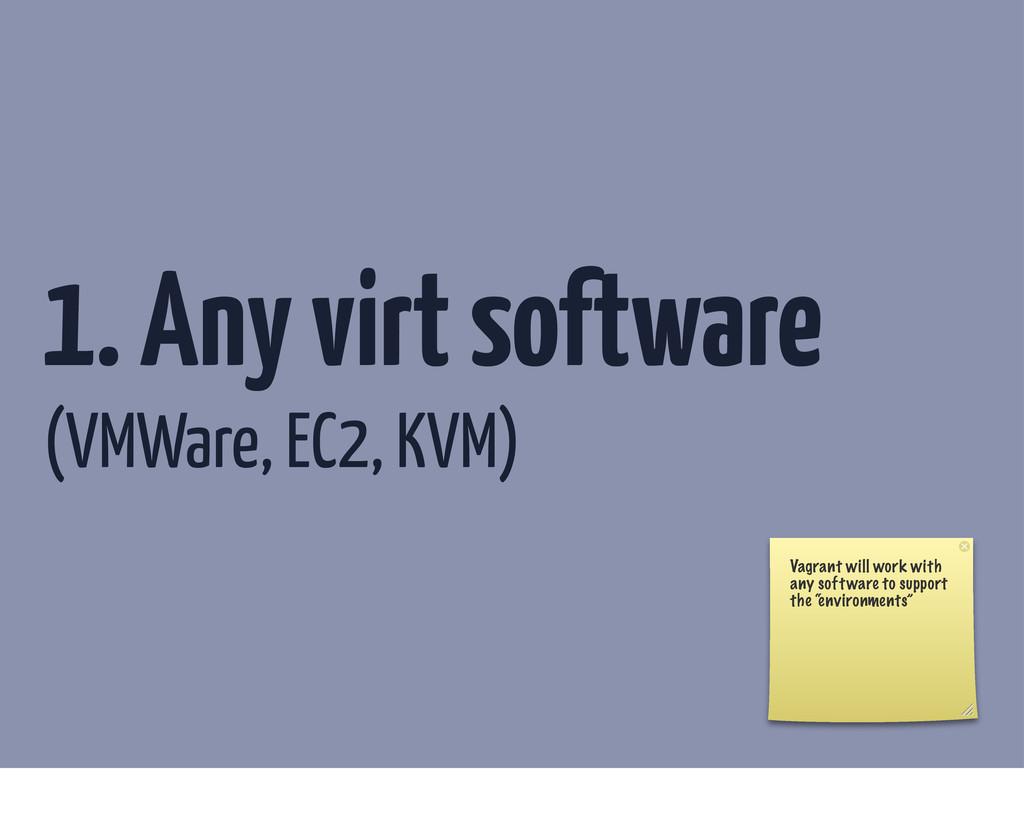 1. Any virt software (VMWare, EC2, KVM) Vagrant...