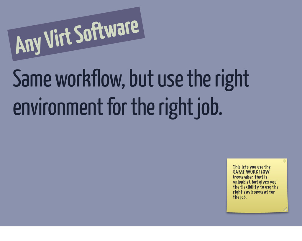 Any Virt Software Same workflow, but use the ri...