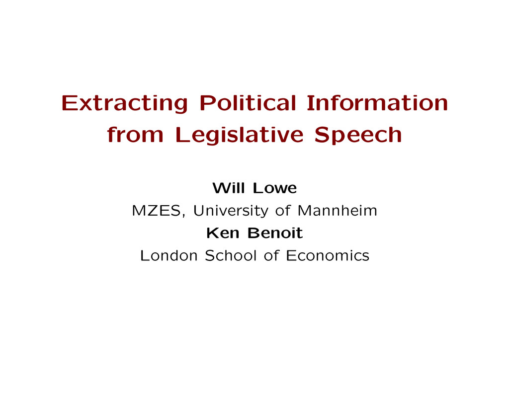 Extracting Political Information from Legislati...