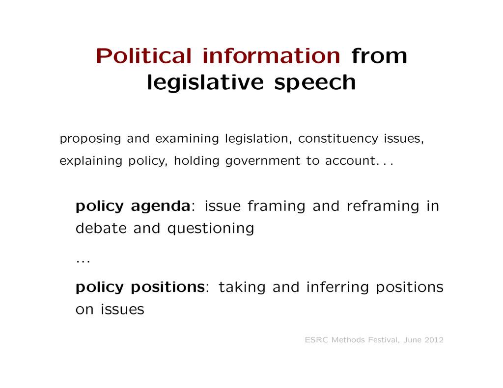 Political information from legislative speech p...