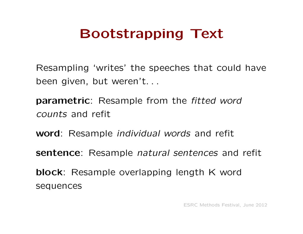Bootstrapping Text Resampling 'writes' the spee...