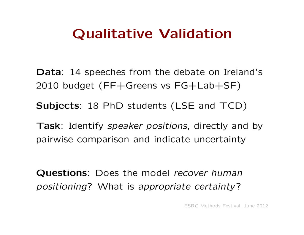 Qualitative Validation Data: 14 speeches from t...