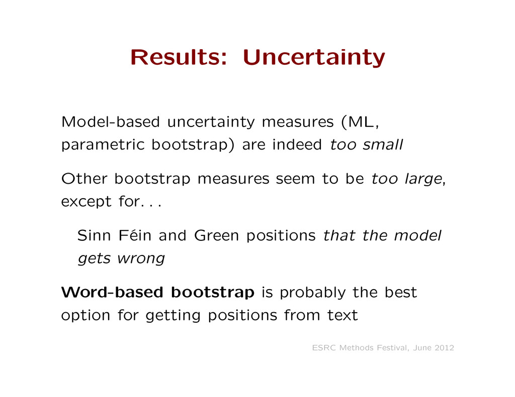 Results: Uncertainty Model-based uncertainty me...