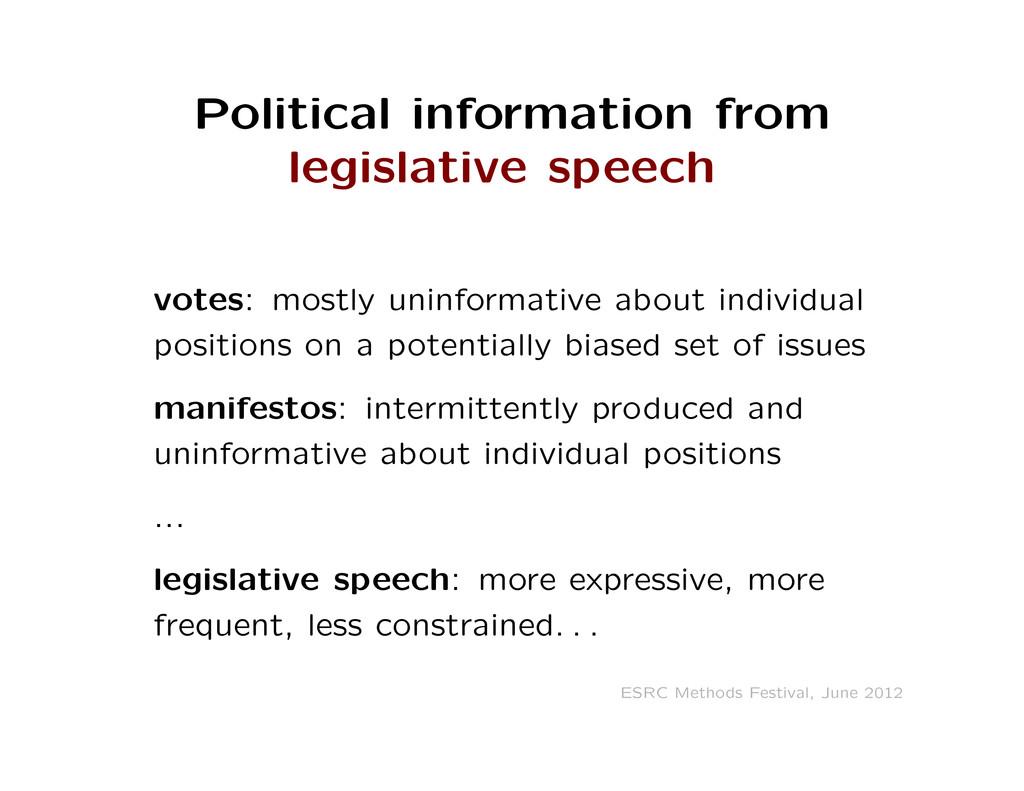 Political information from legislative speech v...