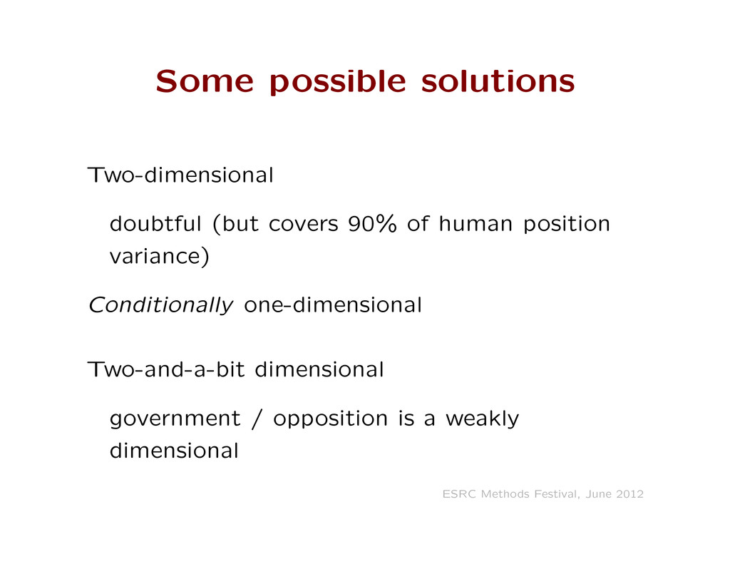 Some possible solutions Two-dimensional doubtfu...