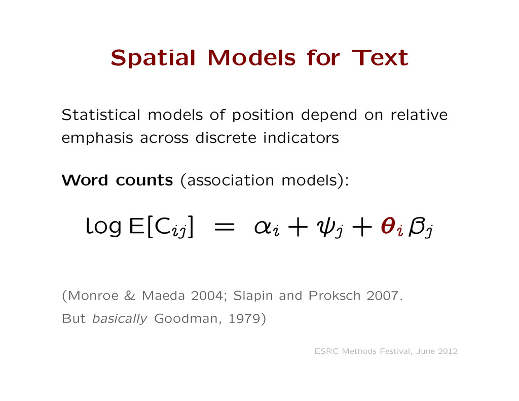 Spatial Models for Text Statistical models of p...