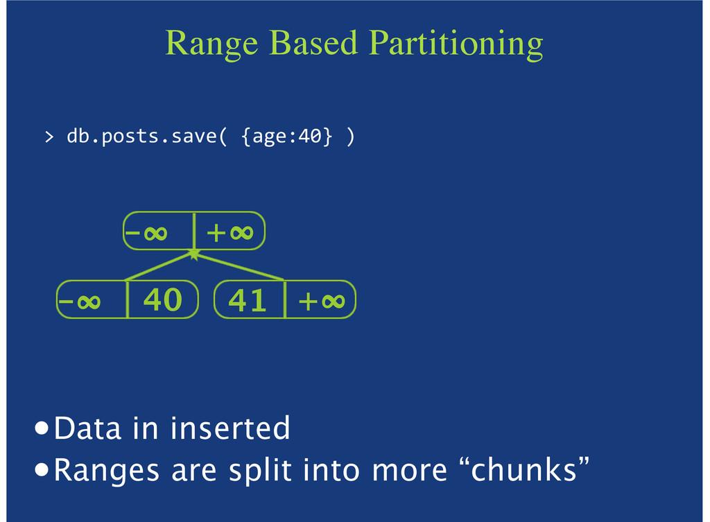 "Range Based Partitioning >""db.posts.save(""{age:..."