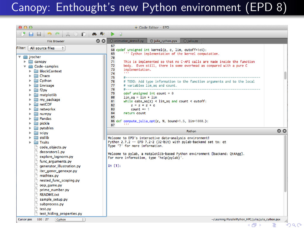 Canopy: Enthought's new Python environment (EPD...
