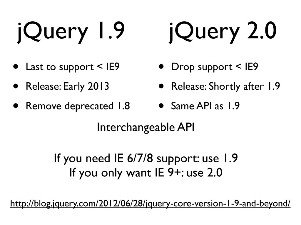 jQuery 1.9 • Last to support < IE9 • Release: E...