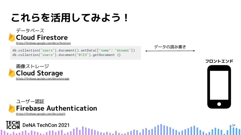 """データの読み書き db.collection(""""users"""").document().setD..."""