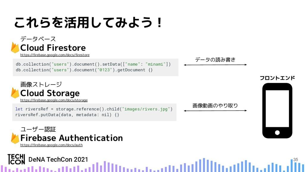 """画像動画のやり取り データの読み書き db.collection(""""users"""").docum..."""