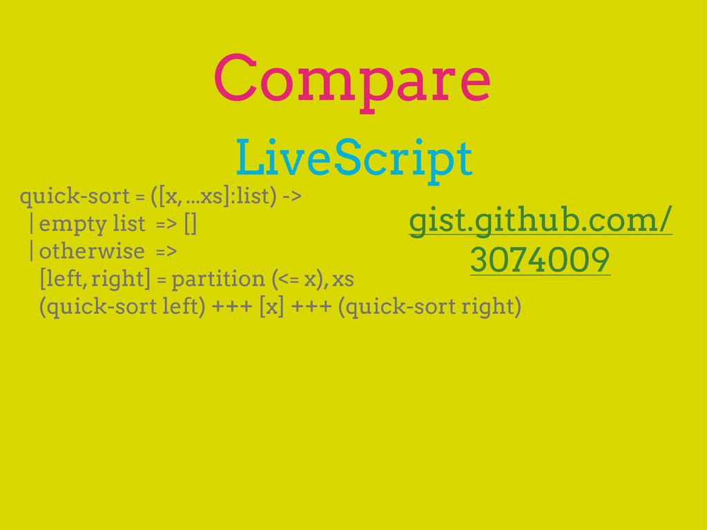 Compare LiveScript quick-sort = ([x, ...xs]:lis...
