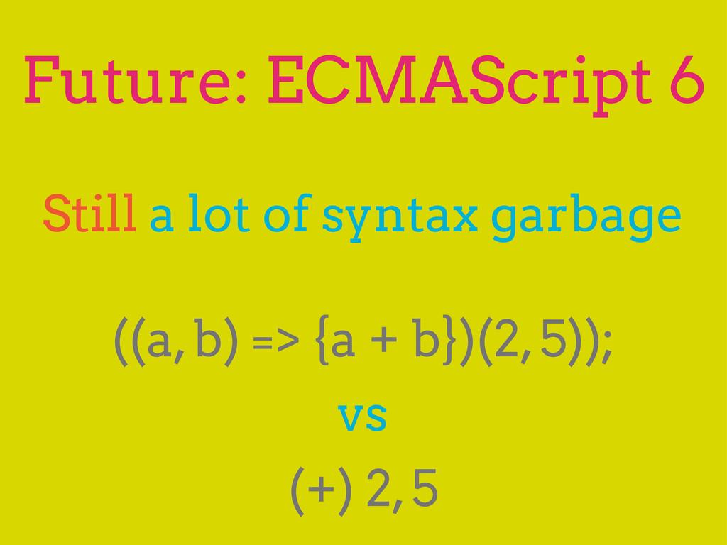 Future: ECMAScript 6 Still a lot of syntax garb...