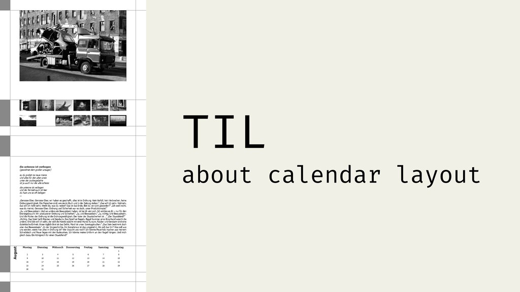 TIL about calendar layout