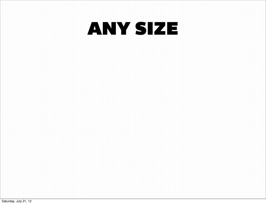 ANY SIZE Saturday, July 21, 12