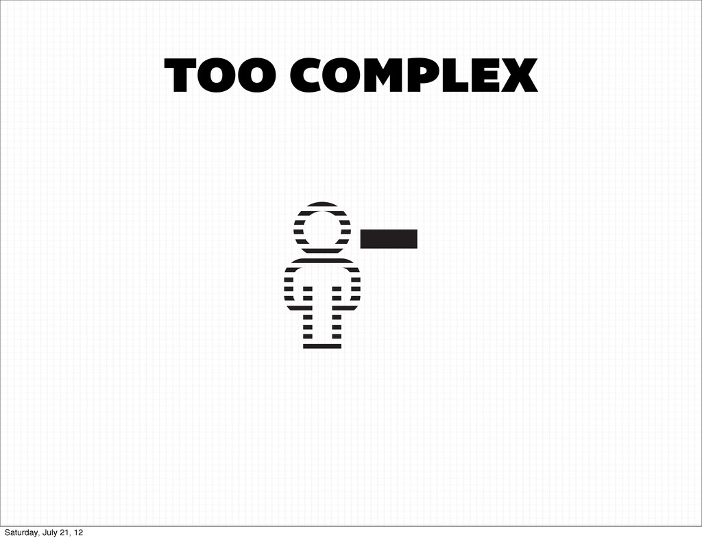 TOO COMPLEX Saturday, July 21, 12