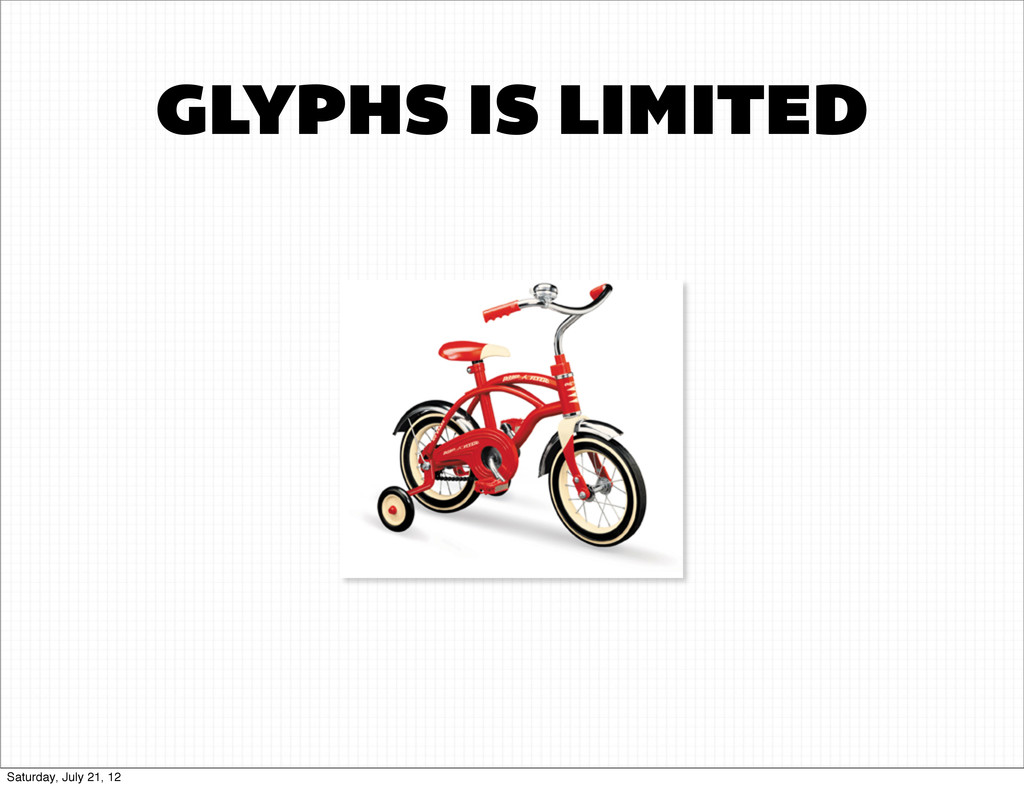 GLYPHS IS LIMITED Saturday, July 21, 12