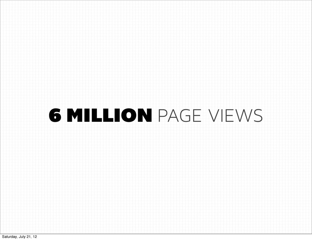 6 MILLION PAGE VIEWS Saturday, July 21, 12