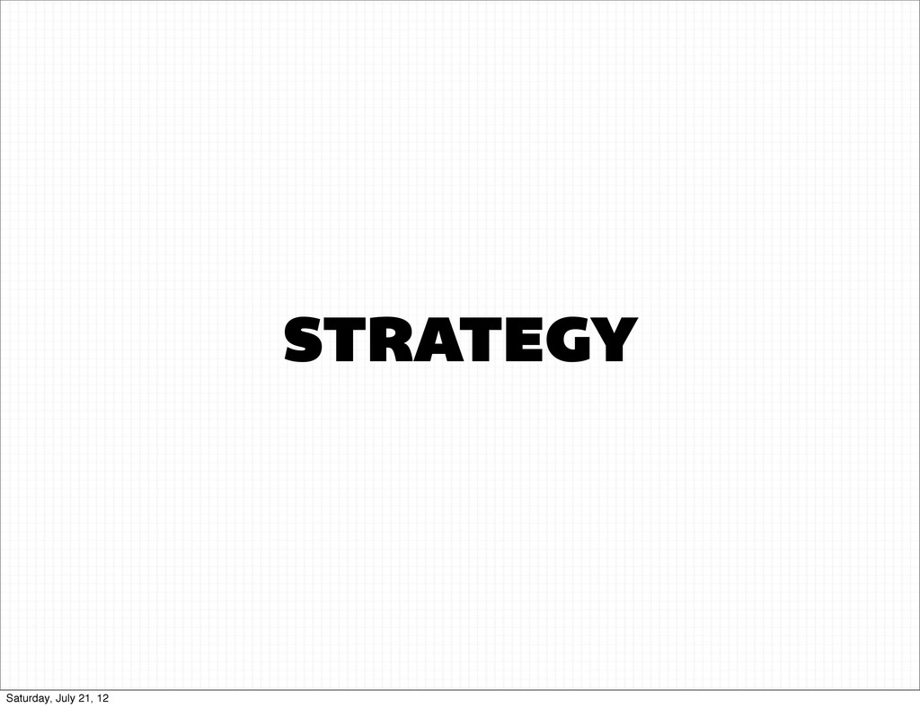 STRATEGY Saturday, July 21, 12