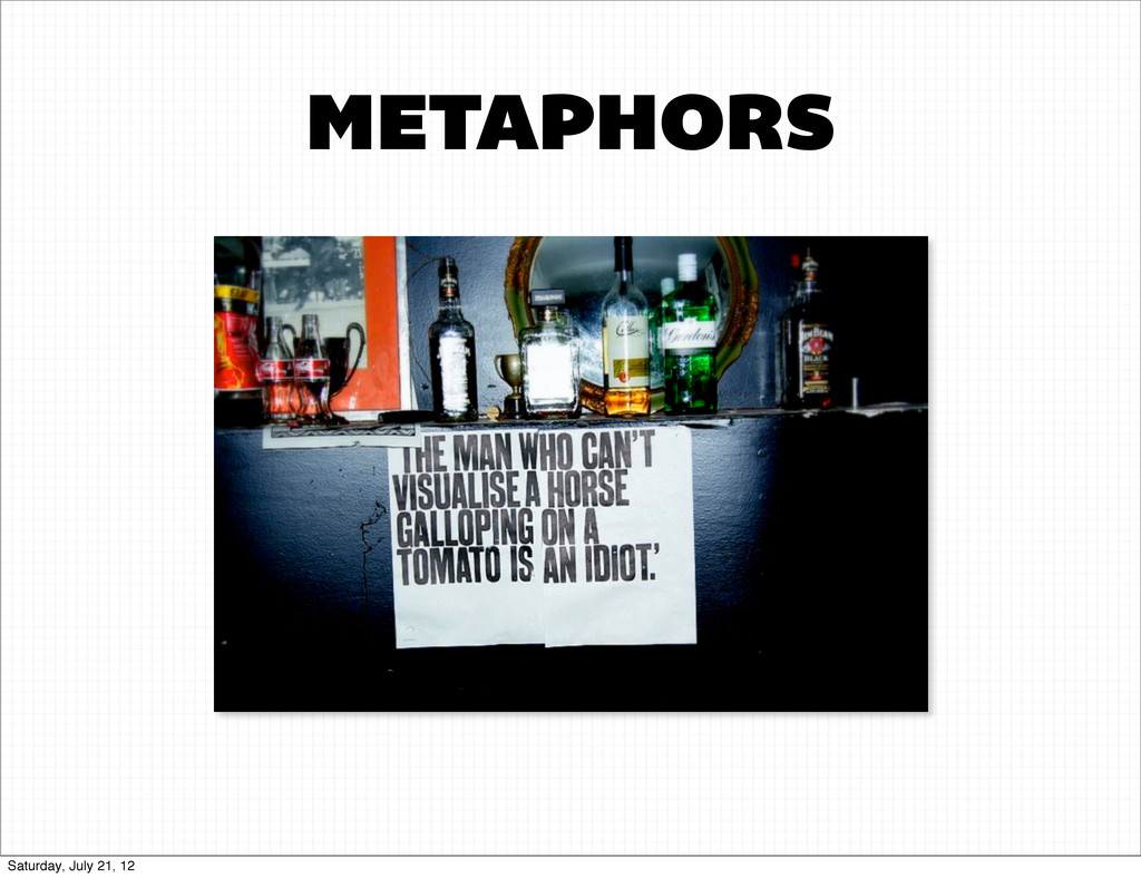 METAPHORS Saturday, July 21, 12