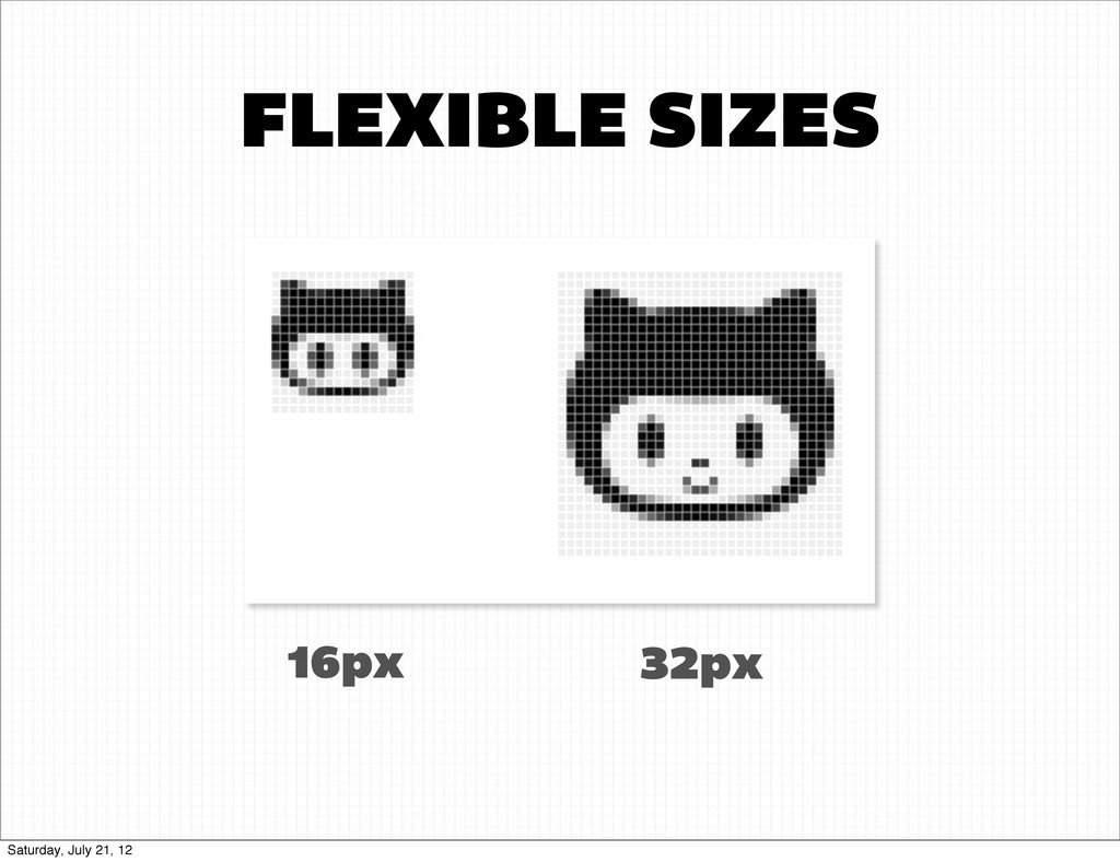 FLEXIBLE SIZES 16px 32px Saturday, July 21, 12