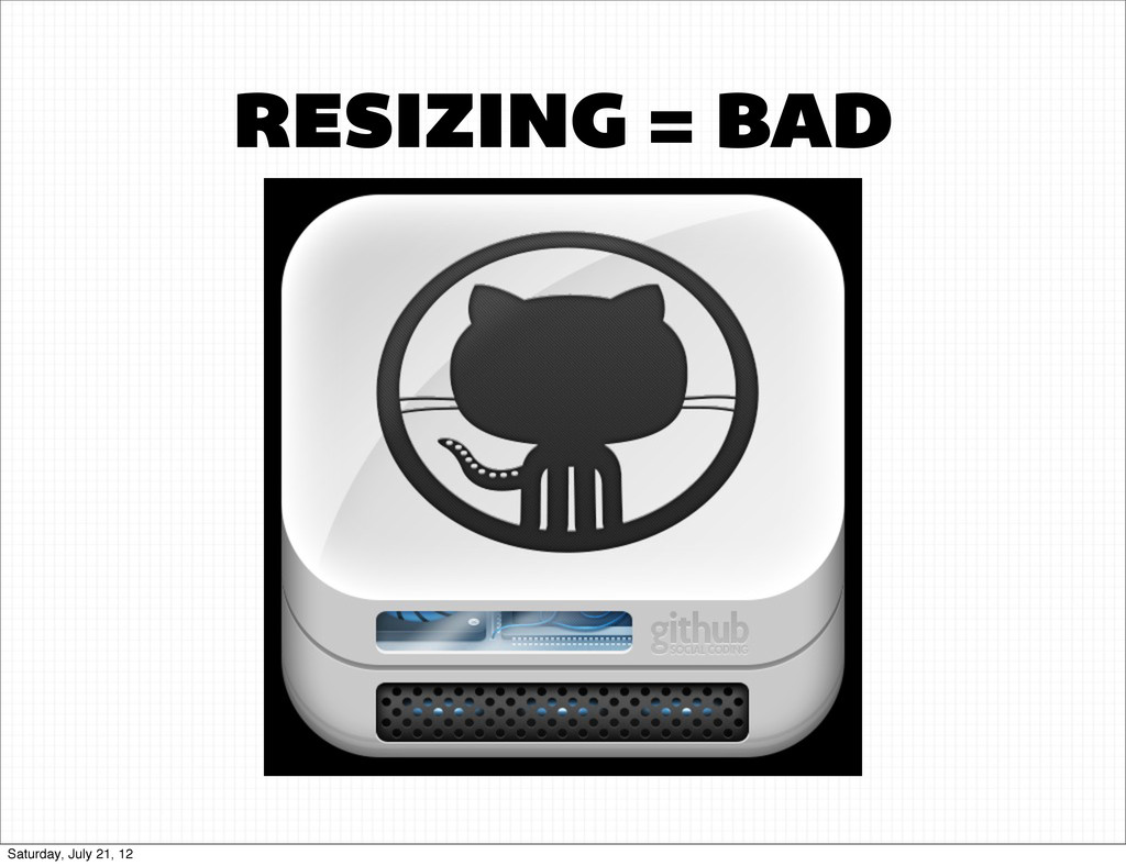RESIZING = BAD Saturday, July 21, 12