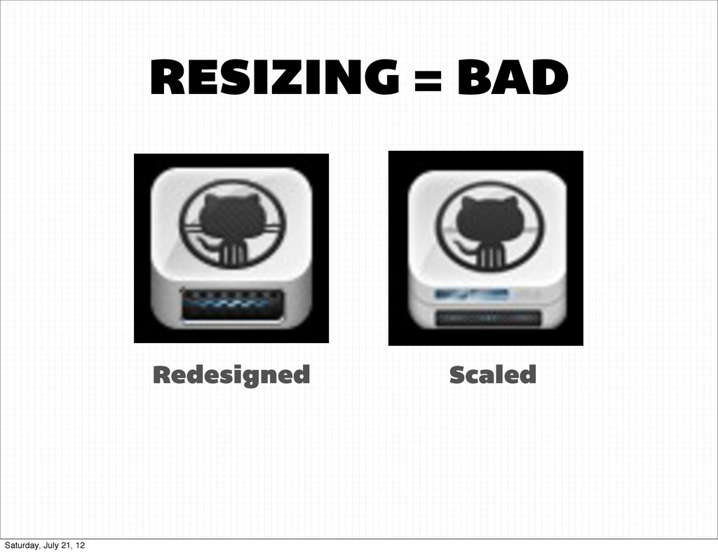 RESIZING = BAD Redesigned Scaled Saturday, July...