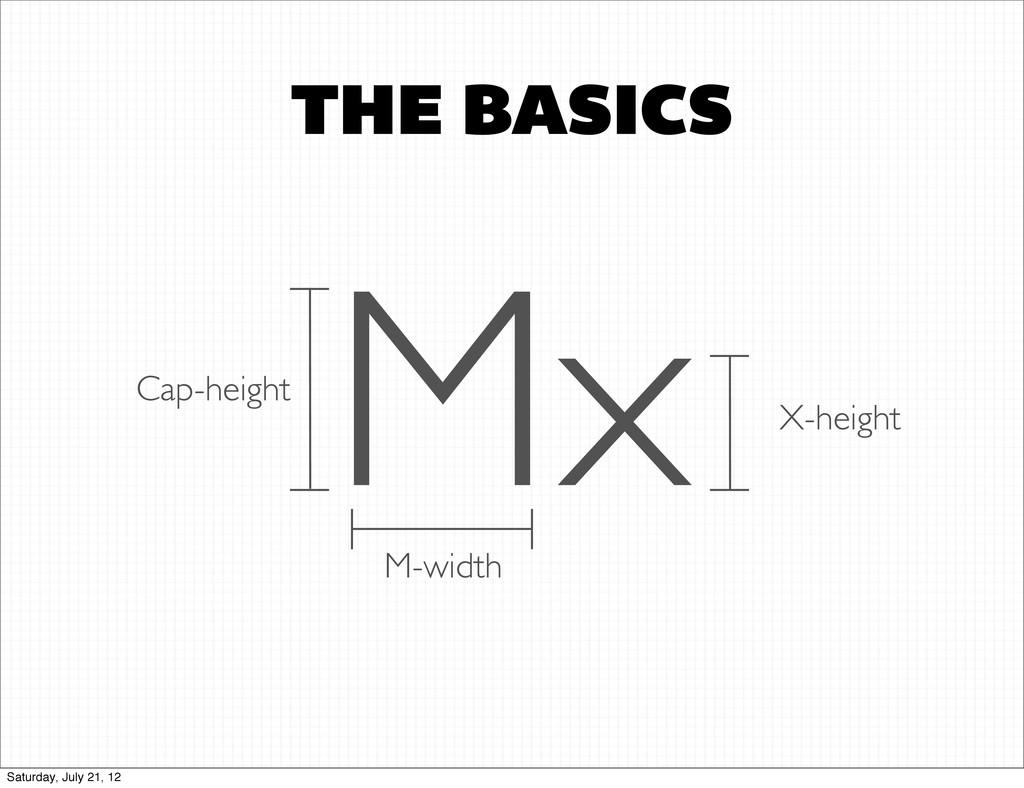 THE BASICS Mx Cap-height X-height M-width Satur...