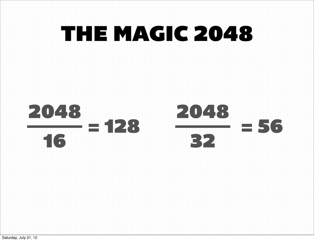 THE MAGIC 2048 2048 16 = 128 2048 32 = 56 Satur...