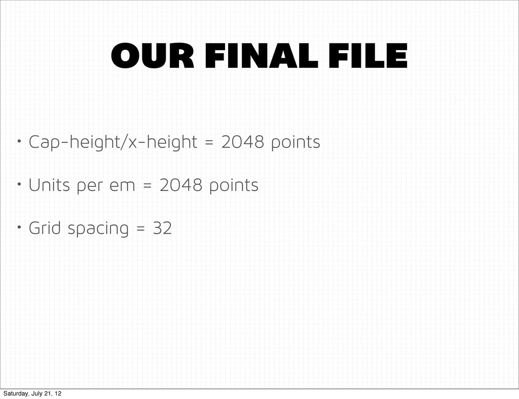 OUR FINAL FILE • Cap-height/x-height = 2048 poi...