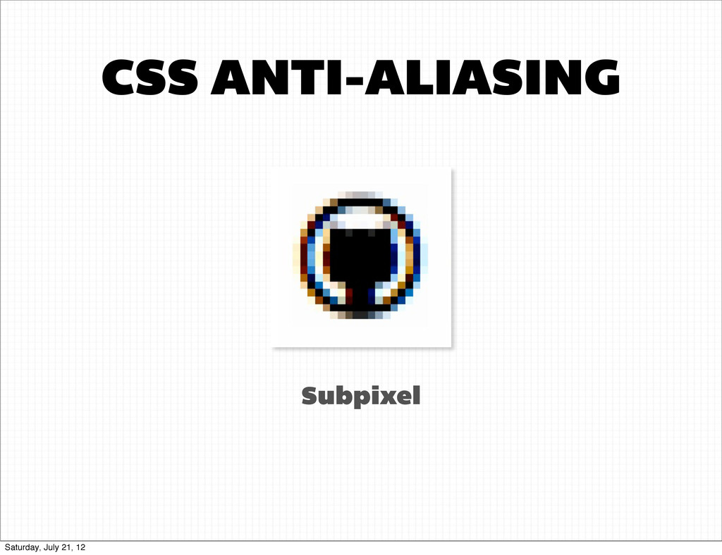 CSS ANTI-ALIASING Subpixel Saturday, July 21, 12