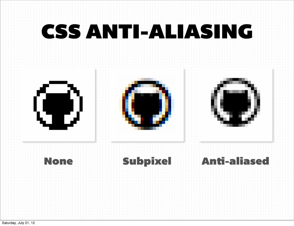 CSS ANTI-ALIASING Subpixel None An -aliased Sat...