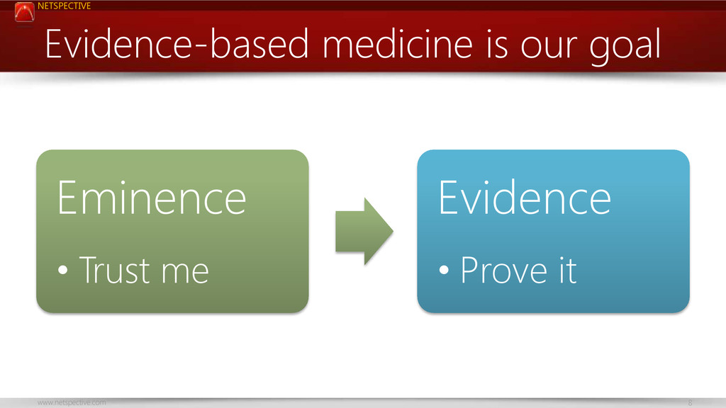 NETSPECTIVE www.netspective.com 8 Evidence-base...