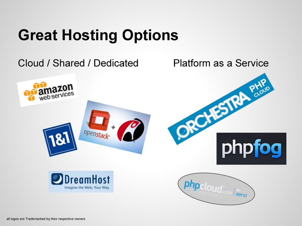Great Hosting Options Cloud / Shared / Dedicate...