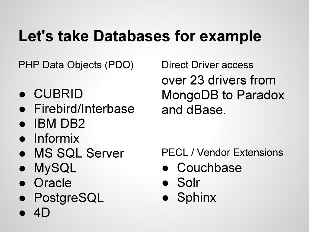 Let's take Databases for example PHP Data Objec...