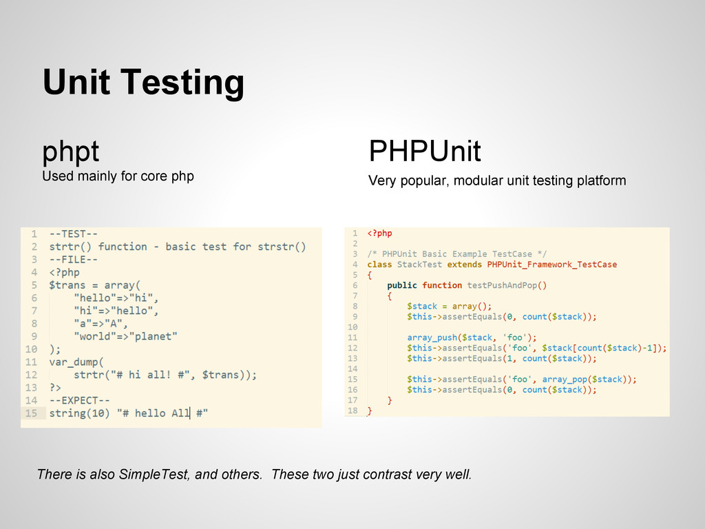 Unit Testing phpt Used mainly for core php PHPU...